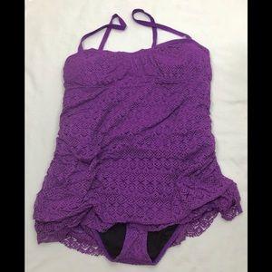 Torrid Purple Crotchet One Piece Swimsuit